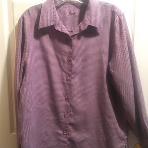 Purple check pattern Foxcroft wrinkle free shirt